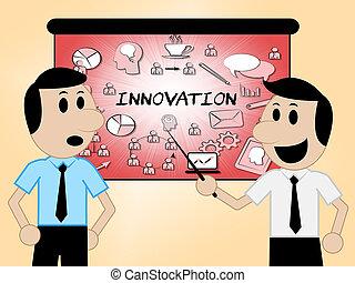 Innovation Icons Shows Reorganization Transformation 3d...