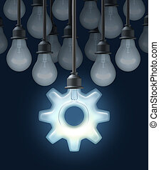 Innovation ideas as a business concept for thinking out of the box with a group of light bulbs and one light shaped as a gear or cog as a symbol of innovative creative technology success on a blck background.