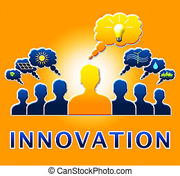 Innovation Lightbulb Showing Reorganization Transformation...
