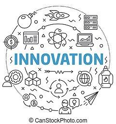Innovation Linear illustration slide for the presentation -...