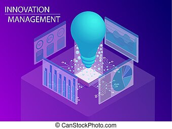 Innovation management concept. 3d isometric vector illustration