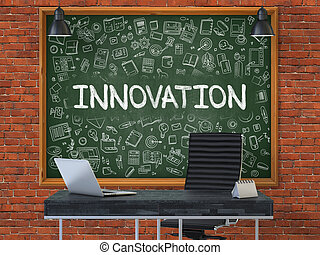 Innovation on Chalkboard with Doodle Icons.