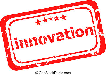 innovation on red rubber stamp over a white background