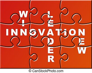 Innovation Puzzle - a red puzzle with somme innovation rules