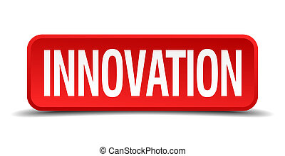 Innovation red 3d square button on white background
