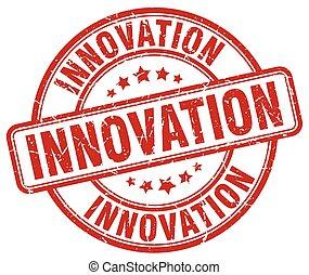innovation red grunge round vintage rubber stamp