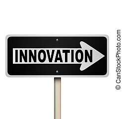 A road sign with the word Innovation pointing the way to innovative ideas, imagination and originality to solve your problem or challenge