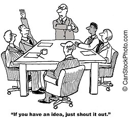 Innovation Session - Cartoon of meeting leader to polite...
