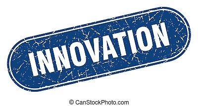 innovation sign. innovation grunge blue stamp. Label