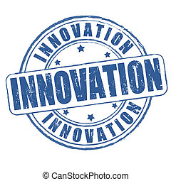 Innovation grunge rubber stamp on white, vector illustration