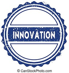 INNOVATION stamp. sticker. seal. blue round grunge vintage ribbon sign