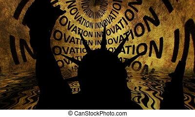 innovation, statue, contre, fond, liberté
