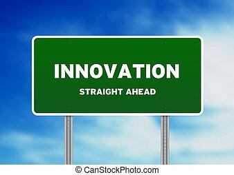 innovation, straßenschild