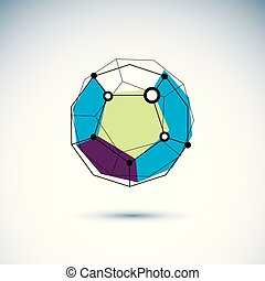 Innovation technologies emblem. Abstract 3D polygonal wireframe object, vector geometric low poly design element.