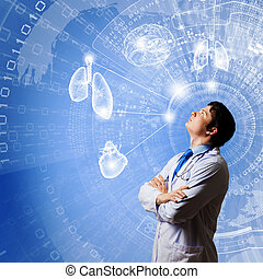 Innovation technologies - Image of young thoughtful doctor...