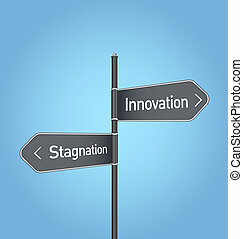 Innovation vs stagnation choice road sign on blue background