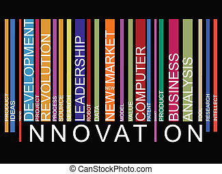 Innovation word concept in barcode with supporting words, ...