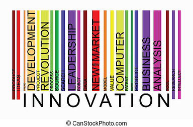 Innovation word concept in barcode with supporting words, vector