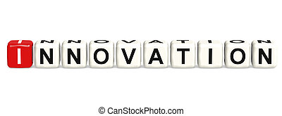 Innovation word concept on cube block isolated