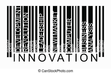 Innovation word concept in barcode with supporting words