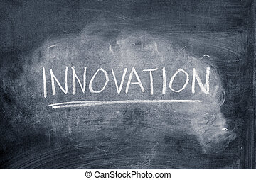 Innovation - Word innovation written on a chalkboard