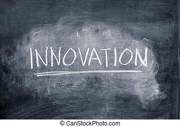 Word innovation written on a chalkboard