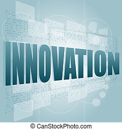 innovation word on a touch screen interface