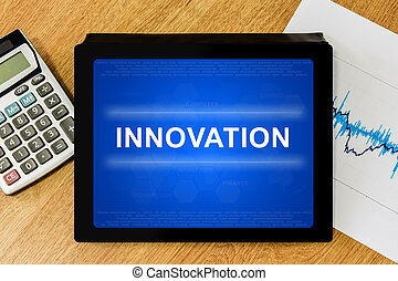 innovation word on digital tablet