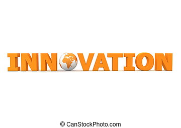 Innovation World Orange - orange word Innovation with 3D...