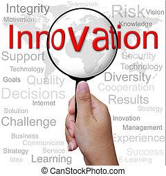 innovation, wort, in, vergrößerungsglas, hintergrund
