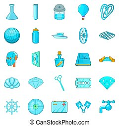 Innovations icons set, cartoon style - Innovations icons...