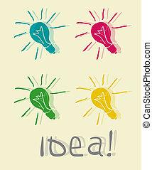 innovativ, lamp., idee