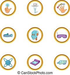 Innovative device icon set, cartoon style