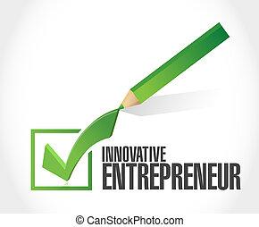 innovative entrepreneur check mark sign