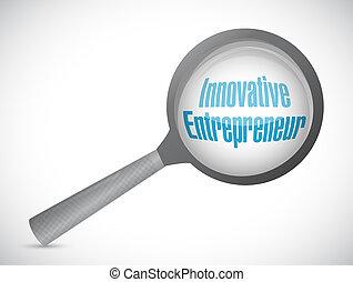 innovative entrepreneur magnify glass sign