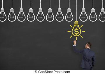 Innovative idea finance solution concepts on blackboard