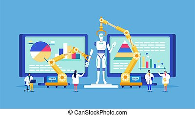 Innovative lab technology people scientists conduct research, model bio robot vector illustration.