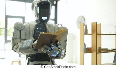 Innovative robot studying and reading indoors - Preparing...
