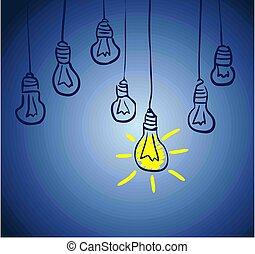 innovativo, lamp., concetto, idea