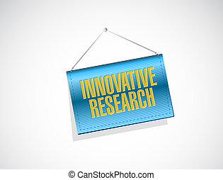 innovativo, ricerca, bandiera, segno, concetto