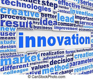 innovazione, manifesto, concettuale, disegno