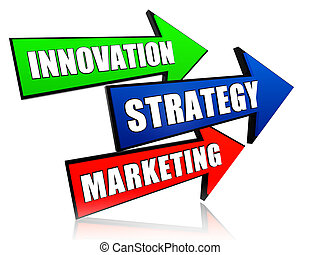 innovazione, marketing, frecce, strategia