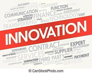 innovazione, parola, nuvola, collage