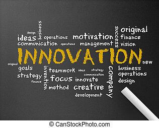 innowacja, chalkboard, -