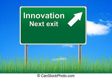 innowacja, droga znaczą, na, niebo, tło, trawa, underneath.