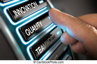 innowacja, jakość, towarzystwo, teamwork, walory