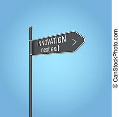 innowacja, następny, wyjście, ciemny, szary, droga znaczą
