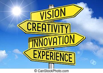 innowacja, pojęcie, -, żółty, droga-znaczą