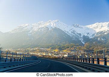 innsbruck, østrig, -, arkitektur, og, natur, baggrund