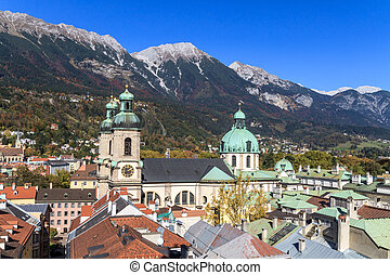 Innsbruck, view over city, Tyrol - Innsbruck, view over city...
